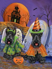 Scottish Terrier - House Flag - Haunted House