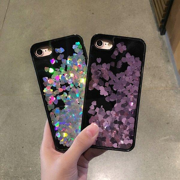 heart hologram liquid glitter cases color options
