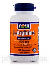 L-ARGININE BY NOW FOODS 500 MG 100 CAPSULES
