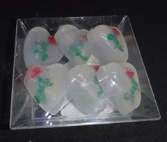 6 Pack of Hearts with Roses Soaps