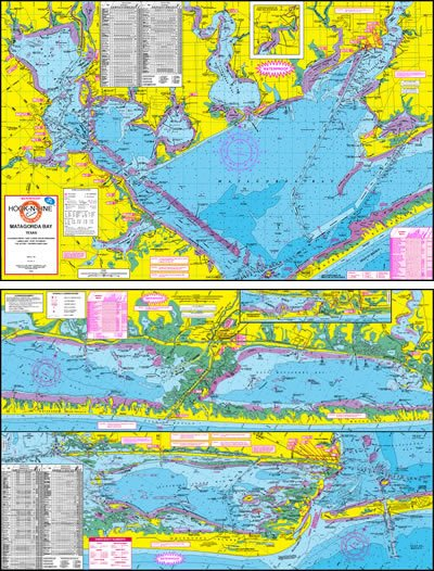 F108 Matagorda Bay Fishing Map Hook N Line Fishing Maps