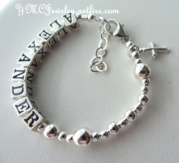 baby tag pearl sterling silver white adjustable free ideas collections thumb girls bracelet baptism cross