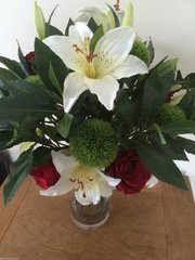LARGE ROSE, LILY, DIANTHUS & BAY FOLIAGE BOUQUET VASE ARRANGEMENT, IN WATER