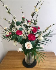 CAMELLIA, BLOSSOM & ROSE DECORATIVE VASE ARRANGEMENT SET IN FAUX WATER