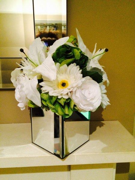 Luxury Large Rose Hydrangea Amp Lily Artificial Flower Arrangement In Mirror Cube Sorella Bloom