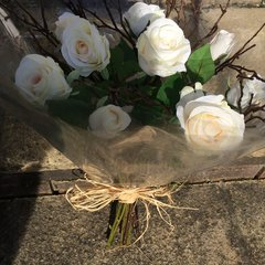 IVORY ROSE & TWIGS HAND TIED BOUQUET, GIFT WRAPPED