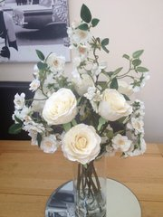 BEAUTIFUL IVORY ROSE & ALMOND BLOSSOM ARRANGEMENT IN GLASS CYLINDER VASE WITH WATER