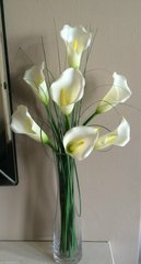IVORY CALLA LILY & GRASS ARRANGEMENT IN GLASS VASE WITH WATER