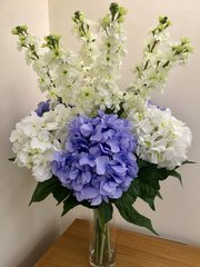 EXTRA LARGE HYDRANGEA & STOCKS VASE ARRANGEMENT IN FAUX WATER
