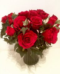 EXTRA LARGE RED ROSE & IVY GOTHIC CHIC BLACK VASE ARRANGEMENT