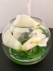 STUNNING IVORY CALLA LILY ARRANGEMENT IN GLASS BOWL WITH WATER