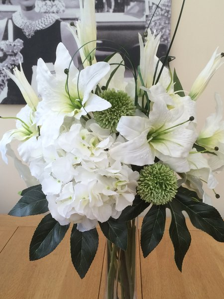 Large White Ivory Lily Amp Hydrangea Artificial Flower