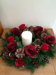 LUXURY HANDMADE 16 INCH RED TABLE WREATH ARRANGEMENT WITH CANDLE - SILK ROSES, CONES & BERRIES