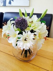 LUXURY LILY & GERBERA BOUQUET IN GLASS BOWL WITH WATER (PURPLE)