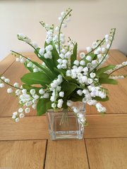 BEAUTIFUL LILY OF THE VALLEY ARRANGEMENT IN GLASS CUBE WITH WATER