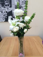 ELEGANT IVORY ROSE, PEONY, LILY & BELLS OF IRELAND TALL GLASS VASE ARRANGEMENT SET IN WATER