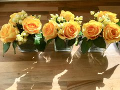SET OF 3 YELLOW ROSE & BERRIES MOSS LINED GLASS CUBE FLOWER ARRANGEMENTS