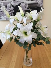 LARGE ARTIFICIAL FLOWER VASE ARRANGEMENT IVORY LILY & EUCALYPTUS IN WATER