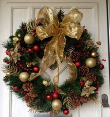 LUXURY HANDMADE 24 INCH EXTRA LARGE CHRISTMAS DOOR WREATH - SPARKLING RED & GOLD