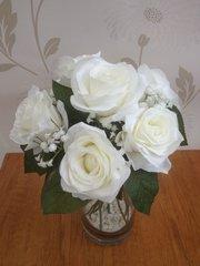 SILK ICE WHITE ROSE & GYPSOPHILA FLOWER ARRANGEMENT IN GLASS VASE WITH GRAVEL & WATER