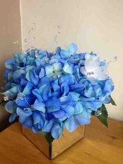 LARGE BLUE SILK HYDRANGEA ARRANGEMENT IN DELUXE MIRROR CUBE, WITH CRYSTAL DECORATIONS