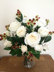 LARGE IVORY ROSE & HYPERICUM BOUQUET VASE ARRANGEMENT IN WATER