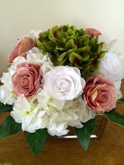 LARGE LUXURY HYDRANGEA & ROSE ARRANGEMENT IN SILVER PLANTER