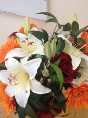 LARGE ROSE, LILY & GERBERA ARTIFICIAL HAND TIED BOUQUET ARRANGEMENT, GIFT WRAPPED