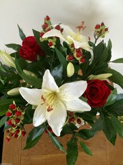LARGE ROSE, LILY, HYPERICUM & BAY FOLIAGE VASE ARRANGEMENT IN WATER