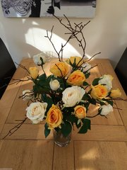 LARGE YELLOW & IVORY ROSE & TWIGS HAND TIED BOUQUET, GIFT WRAPPED