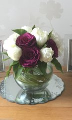 LUXURY PEONY ROSE & GRASS BOUQUET ARRANGEMENT IN GRASS LINED BOWL & WATER