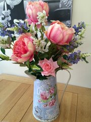 EXTRA LARGE SHABBY CHIC PEONY, ROSE & PHYSOSTEGIA ARTIFICIAL FLOWER ARRANGEMENT IN VINTAGE STYLE METAL JUG