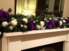 "LUXURY MODERN PURPLE, IVORY & SILVER 4 FT 6"" CHRISTMAS GARLAND WITH LARGE SILK ROSES & BAUBLES"