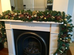 DELUXE SPARKLING 5 FT BRONZE GOLD & COPPER CHRISTMAS GARLAND BAUBLES, GLITTER FOLIAGE, CONES & BERRIES