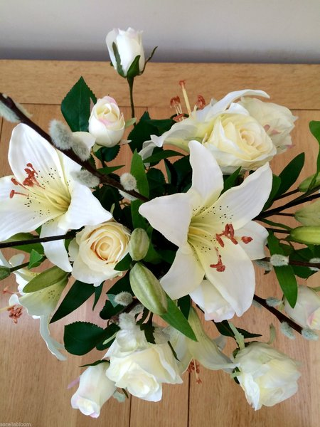Ivory lily rose pussy willow artificial silk flower bouquet ivory lily rose pussy willow artificial silk flower bouquet gift wrapped mightylinksfo