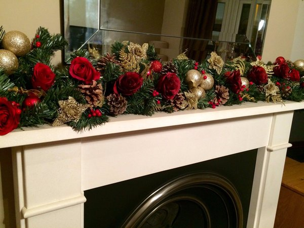 deluxe red gold 5 ft christmas garland with large silk roses cones baubles - Christmas Garland
