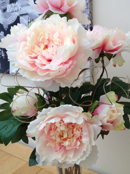 Large Pink Peony Amp Twigs Artificial Flower Vase Arrangement In Water Sorella Bloom