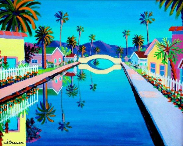 """Blue Canal - 24"""" x 32"""" Canvas Print"""