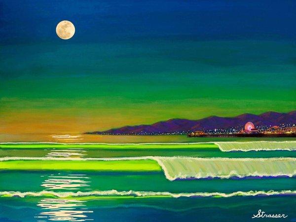 Venice Beach Moonlight 12 x 16   Canvas Print