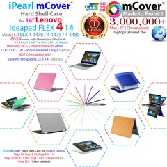 """mCover Hard Case for 14"""" Lenovo Ideapad FLEX 4 14"""" ( 4-1470 / 4-1435 / 4-1480) or 14"""" Yoga 510 (**NOT compatible with newer 14-inch FLEX 5-1470 / Yoga 520 series **) laptop computers"""