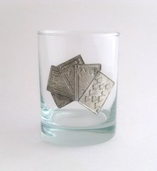 Rocks Glass with Pewter Cards