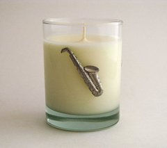 Soy Candle (14 oz.) with Pewter Saxophone