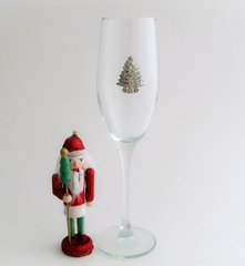 Flute Glass with Pewter Christmas Tree