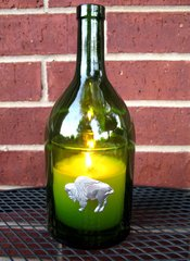 Wine Bottle Candle Cover with Pewter Buffalo