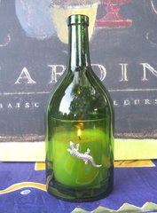 Wine Bottle Candle Cover with Pewter Lizard