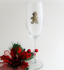 Flute Glass with Pewter Gingerbread Man