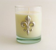 Soy Candle (14 oz.) with a Pewter Fleur de Lis
