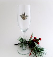Flute Glass with Pewter Dove