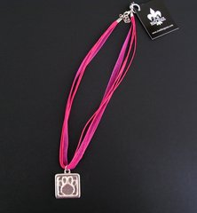 Paws for a Cause Red Ribbon Necklace with Pewter Paw Print