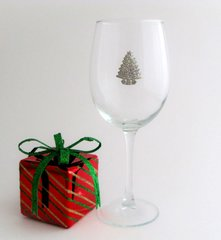 Wine Glass with Pewter Christmas Tree